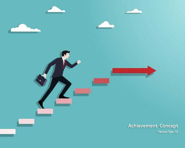 Empresário andando na escada até o sucesso Vetor Premium