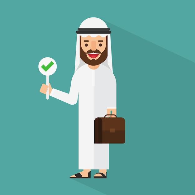 Empresário árabe discutindo com sinal certo Vetor Premium