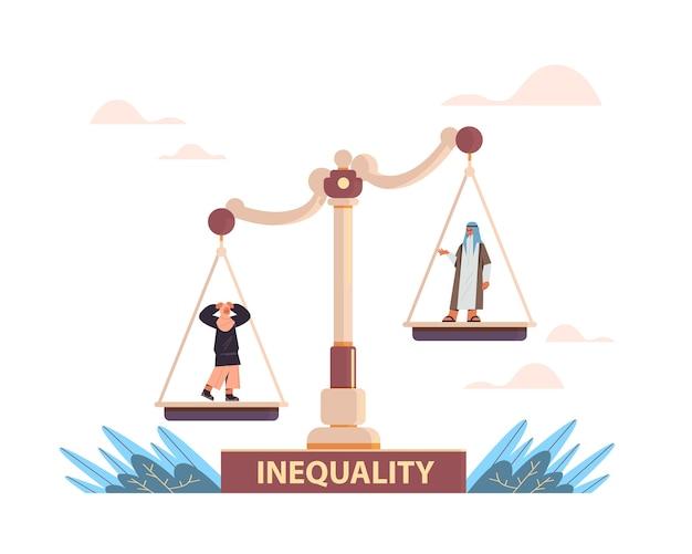 Empresário árabe e mulher de negócios em escalas negócios corporativos conceito de desigualdade gênero masculino vs feminino oportunidades desiguais Vetor Premium