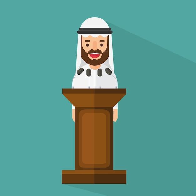 Empresário árabe em pé na tribuna Vetor Premium