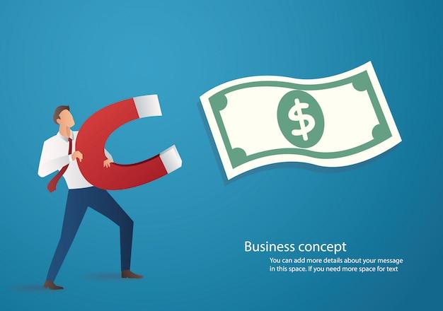Empresário, atraindo o ícone de dinheiro com um grande íman Vetor Premium
