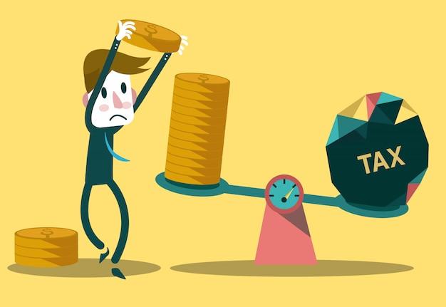Empresário balanceamento de moedas com imposto Vetor Premium