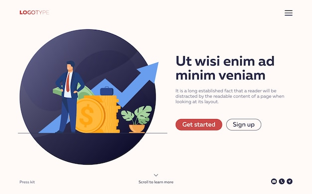 Empresário bem sucedido ou investidor apresentando pilha de dinheiro Vetor grátis