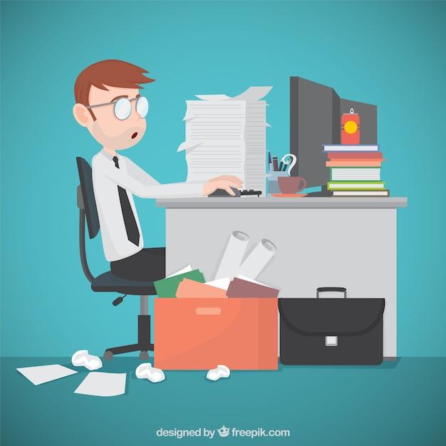 Empresário busy Vetor grátis