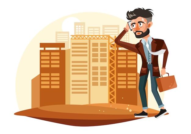 Empresário cansado ilustração Vetor Premium