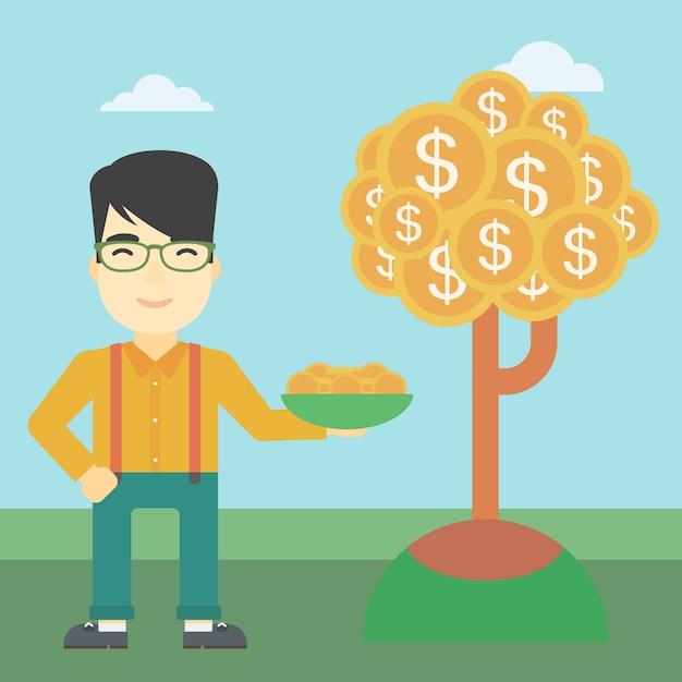 Empresário captura moedas do dólar. Vetor Premium