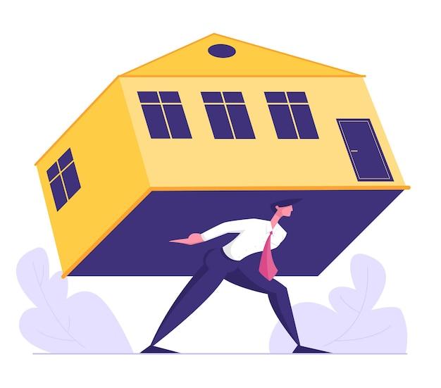 Empresário carrega hipoteca opressora para casa Vetor Premium