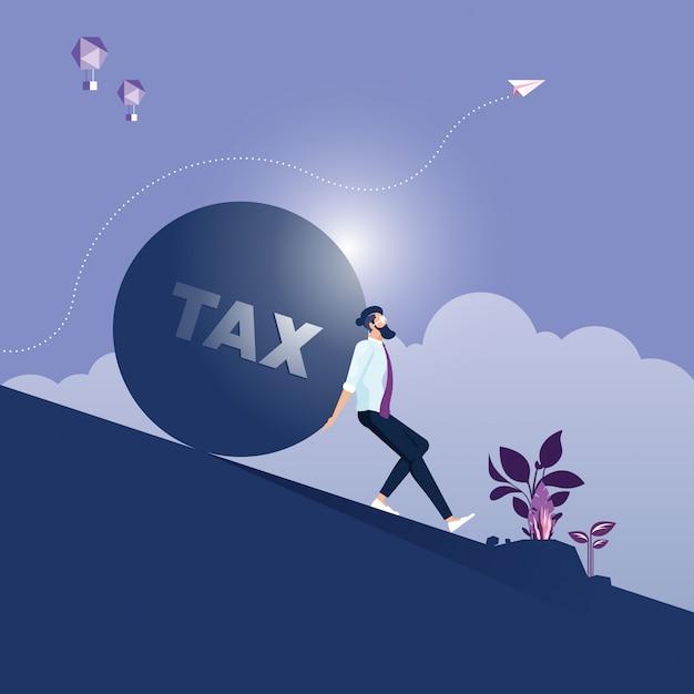 Empresário carregando e fazendo esforço para empurrar pedra grande com mensagem de imposto Vetor Premium