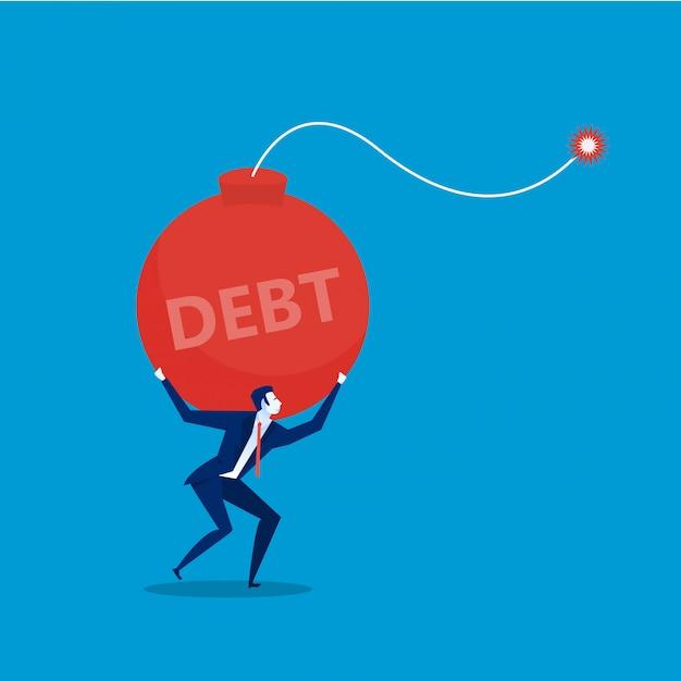 Empresário com bomba de dívida escriturada. ilustração plana Vetor Premium