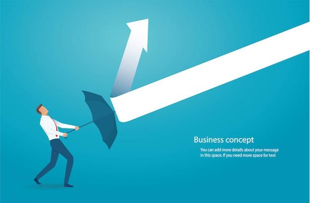 Empresário com guarda-chuva proteger setas desenhadas Vetor Premium