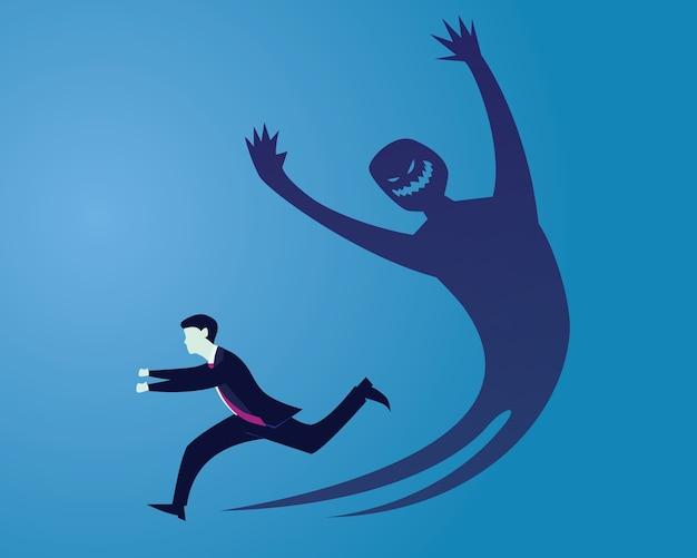 Empresário com medo de sua própria sombra | Vetor Premium