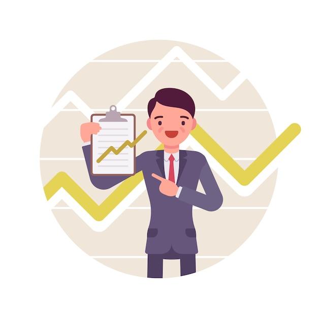 Empresário com prancheta. gráficos e gráficos positivos Vetor Premium