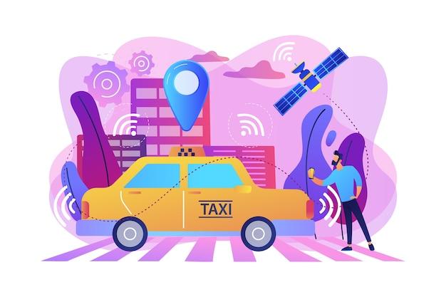 Empresário com smartphone tomando táxi sem motorista com sensores e pino de localização. táxi autônomo, táxi autônomo, conceito de serviço de carro sob demanda. ilustração isolada violeta vibrante brilhante Vetor grátis