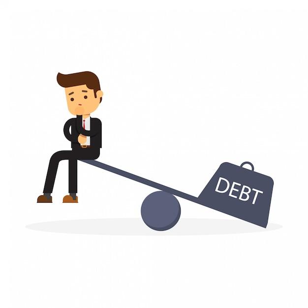 Empresário com um contrato de empréstimo senta-se na balança Vetor Premium