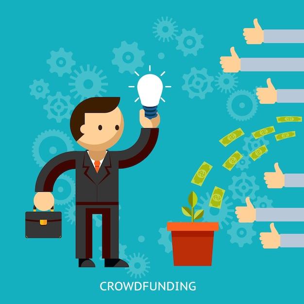 Empresário com uma grande ideia de ser financiado pela multidão com dinheiro despejando em um balde com as mãos levantando os polegares da aprovação ilustração vetorial no azul Vetor grátis