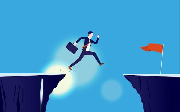 Empresário corajoso pulando penhasco para alcançar a meta Vetor Premium