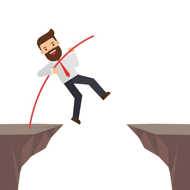 Empresário corajoso pulando Vetor Premium