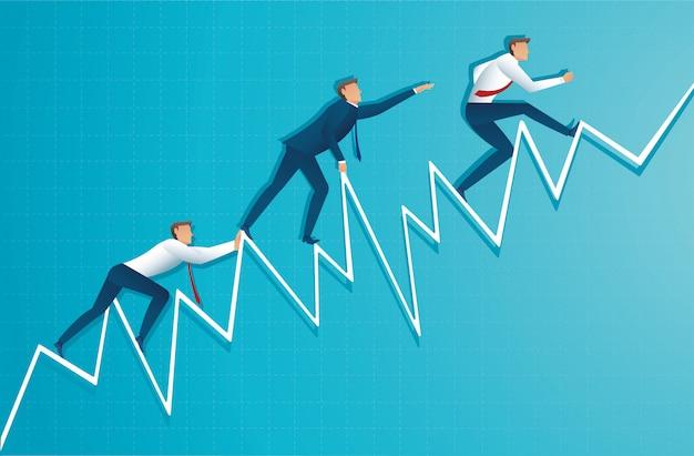 Empresário correndo até o topo da seta Vetor Premium