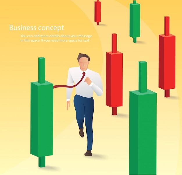 Empresário, correndo com fundo de gráfico de castiçal Vetor Premium