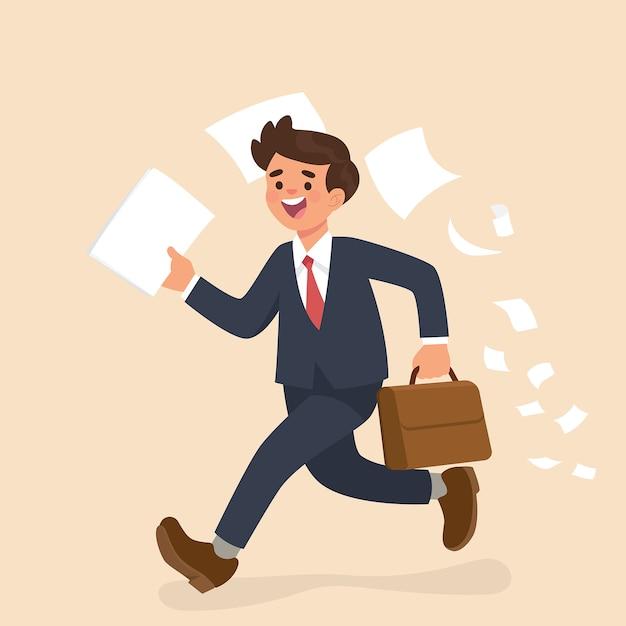 Empresário correndo e segurando o papel Vetor Premium