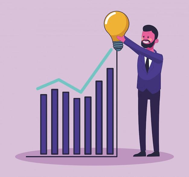 Empresário crescente vendas com grande idéia vector design gráfico ilustração Vetor Premium