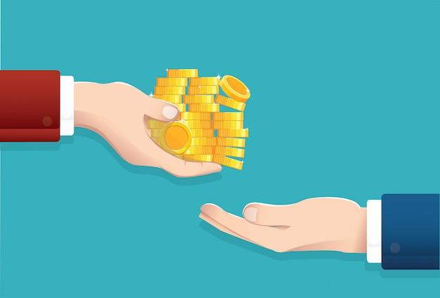 Empresário dá dinheiro Vetor Premium