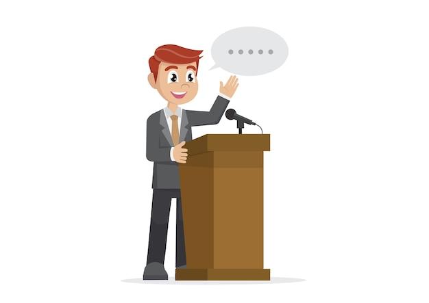 Empresário dando um discurso no pódio Vetor Premium