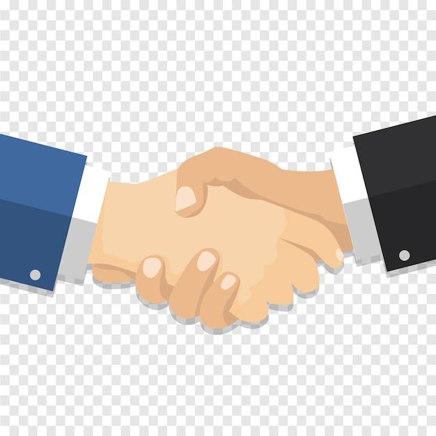 Empresário de aperto de mão em fundo transparente Vetor Premium