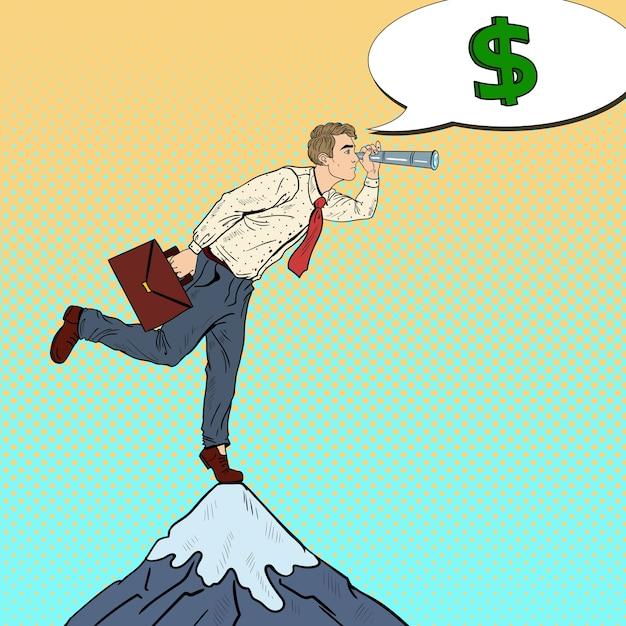 Empresário de arte pop com a luneta no pico da montanha à procura de dinheiro. estratégia de negócio. Vetor Premium