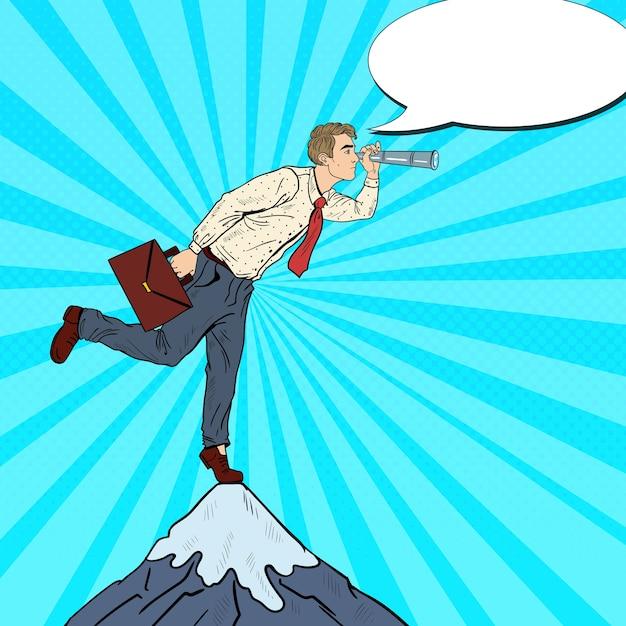 Empresário de arte pop com a luneta no pico da montanha. visão do negócio. Vetor Premium