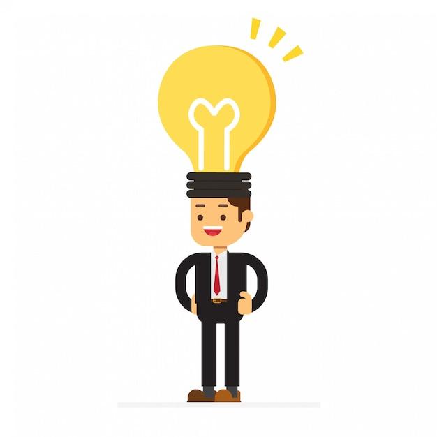Empresário de cabeça de lâmpada Vetor Premium