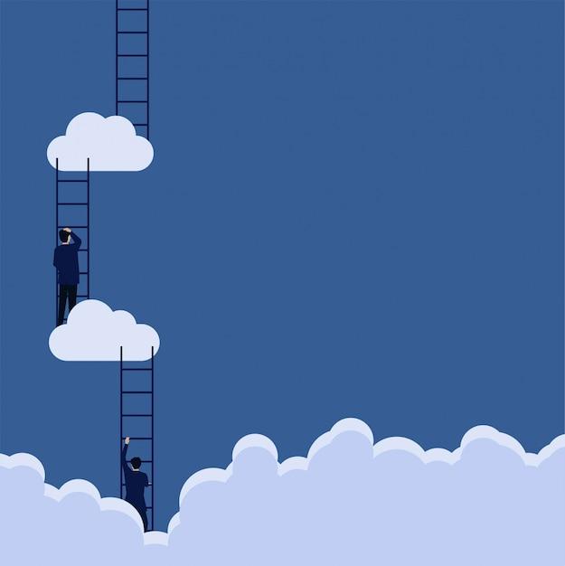 Empresário de conceito de vetor plana de negócios suba a escada para nublar a etapa da metáfora para o sucesso. Vetor Premium