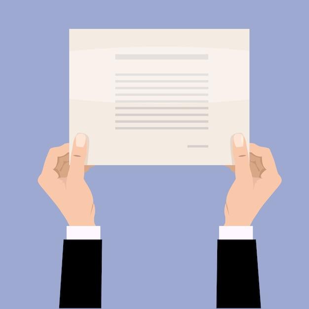 Empresário de desenhos animados as mãos segurando um papel em branco vazio. Vetor Premium