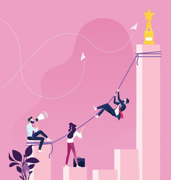 Empresário de escalada para chegar ao topo. conceito de sucesso Vetor Premium