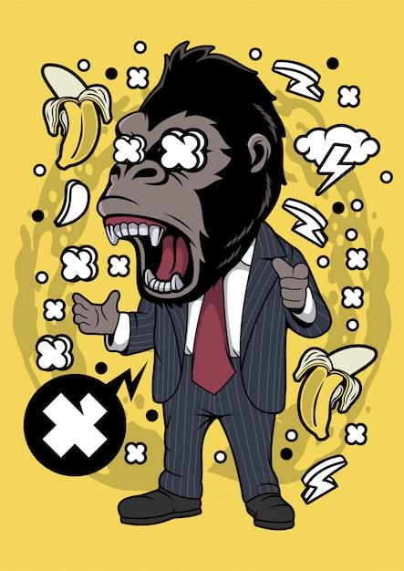 Empresário de gorila Vetor Premium