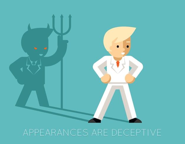 Empresário de luz e diabo de sombra. aparências enganam. gerente de negócios, demônio e carreira profissional Vetor grátis