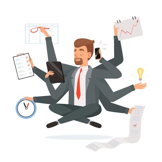 Empresário de multitarefa. trabalhador de escritório, fazendo muito trabalho com as mãos escrevendo chamando lendo caráter de conceito de meditação ioga Vetor Premium