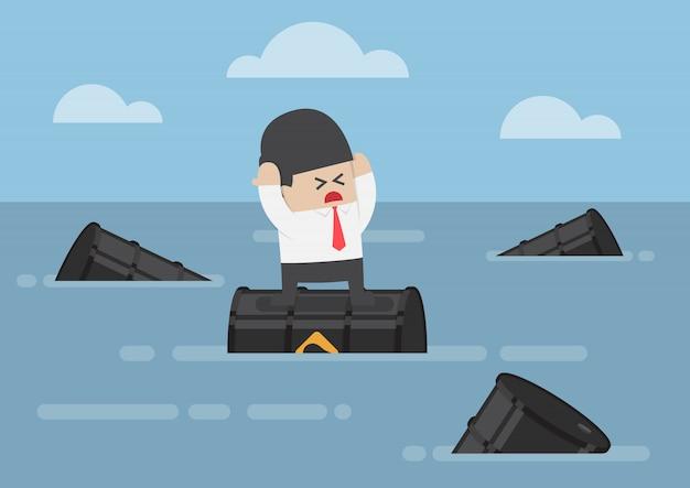 Empresário de pé em barris de petróleo no oceano Vetor Premium