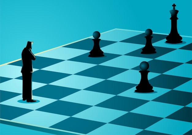 Empresário de pé enquanto pensava no tabuleiro de xadrez Vetor Premium