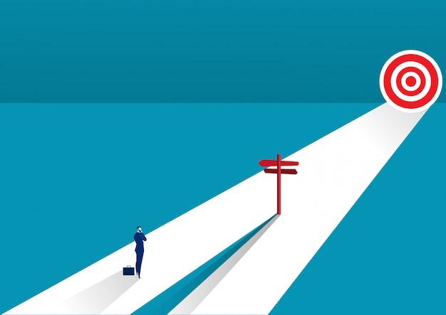 Empresário de pé no meio do caminho e escolher a direção. conceito de negócios. ilustração vetorial moderna direção Vetor Premium