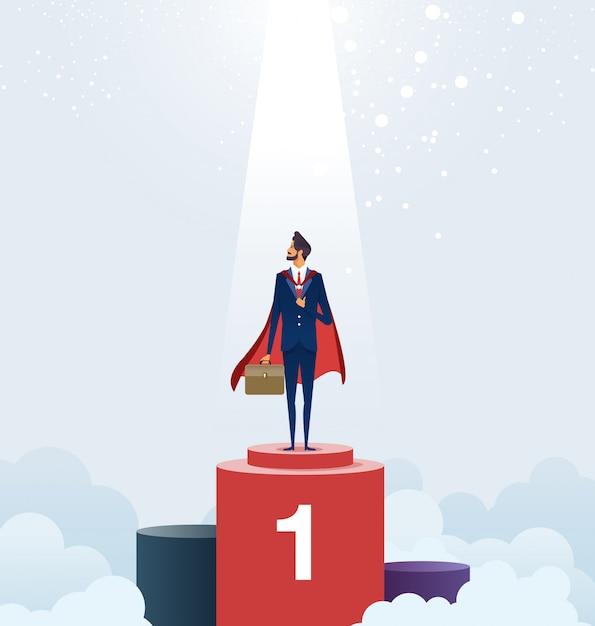 Empresário de pé no pedestal. conceito de negócio de sucesso Vetor Premium