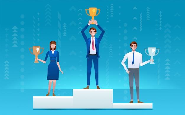 Empresário de pé no pódio vencedor Vetor Premium