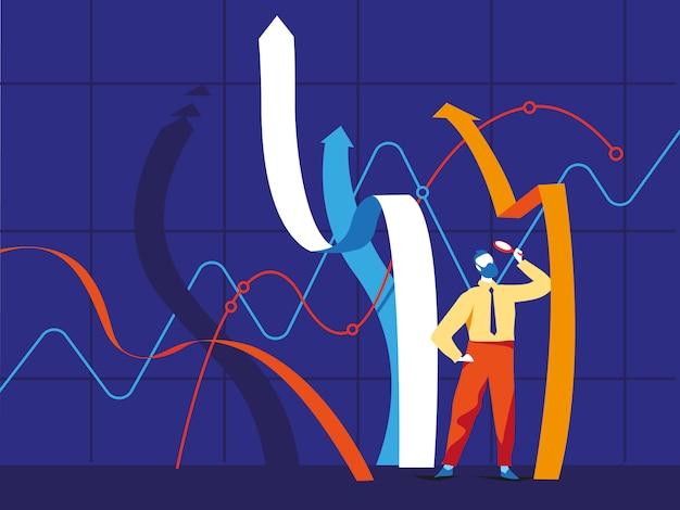 Empresário de pé perto de linhas de gráficos em crescimento e olhando para eles através da lupa Vetor Premium