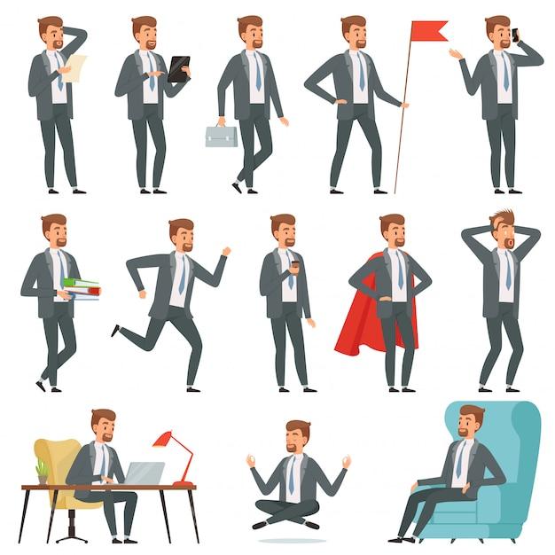 Empresário de personagens. conjunto de empresário em várias poses de ação Vetor Premium
