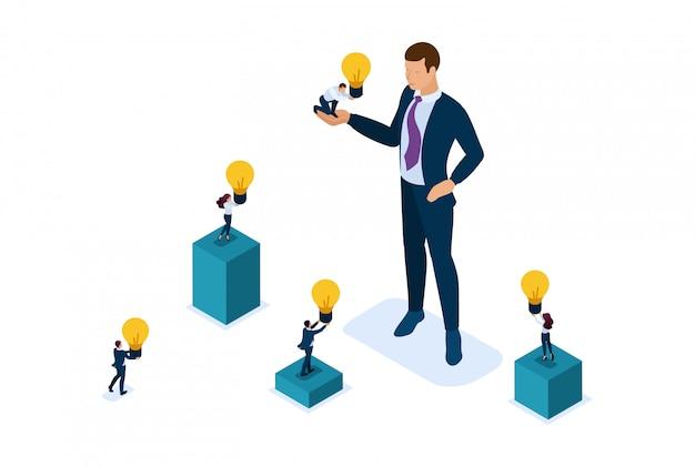 Empresário de site conceito isométrico brilhante oferece uma oportunidade de investimento, investindo em uma startup, crescimento dos negócios. conceito de web design Vetor Premium