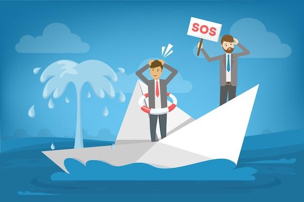 Empresário de terno em pé no barco que afunda. Vetor Premium