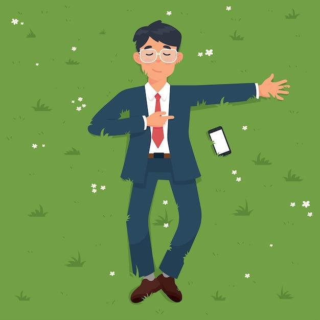 Empresário deitado na grama verde no personagem do parque Vetor Premium