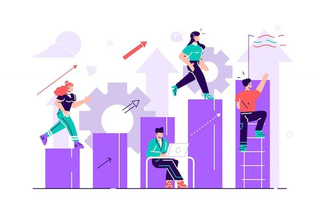 Empresário, descendo as escadas para o gol sob a forma de uma bandeira. planejamento de carreira. conceito de desenvolvimento de carreira. trabalho em equipe. ilustração de estilo simples para a página da web, mídias sociais, documentos. Vetor Premium