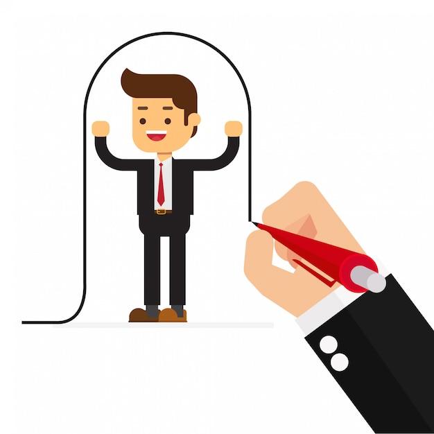Empresário desenha uma linha cobrindo o cliente Vetor Premium
