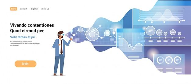 Empresário desgaste digital óculos online negociação virtual realidade monitorando financeiro gráfico diagrama vr visão headset inovação conceito Vetor Premium